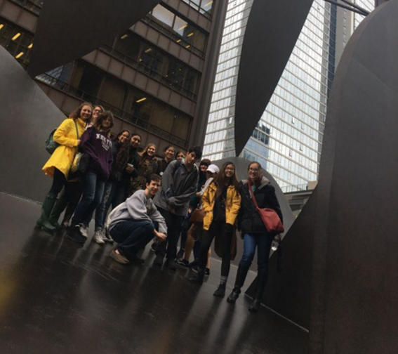 """Mrs. Doyle and the AP Art History students (right) next to Picasso's sculpture, """"untitled."""" This famous sculpture is also known as the Chicago Picasso. sculpture, """"untitled"""". This famous sculpture is also known as the Chicago Picasso."""