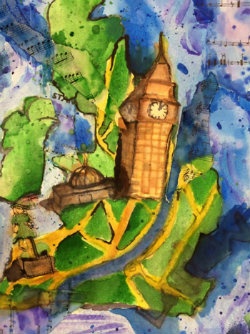 Catherine Teuthorn, Sophomore, uses distinct colors to paint the map of London and its attractions.
