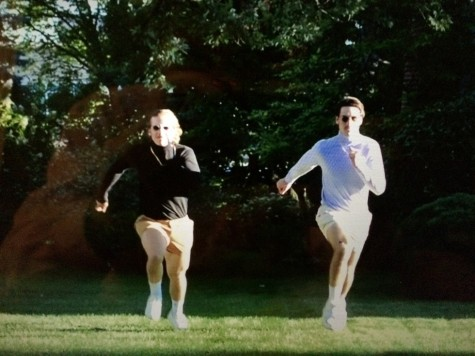 George and Adam running to save the day in their viral Homecoming video