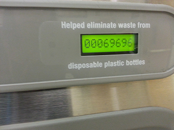 As of November 18, the water filler outside of the auditorium has helped eliminate 69,696 disposable plastic bottles.