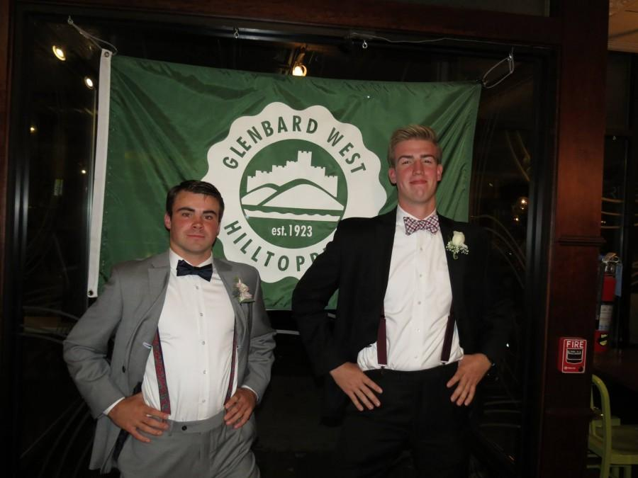 President Connor O'Shea (Left) and Vice President Danny Riley (Right) pose in front of the Glenbard West logo at Homecoming 2015.