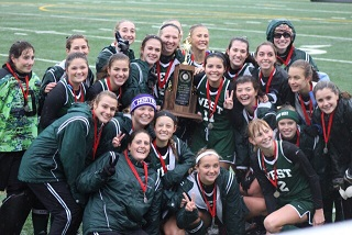 The Field Hockey Girls pose with their Second Place Trophy