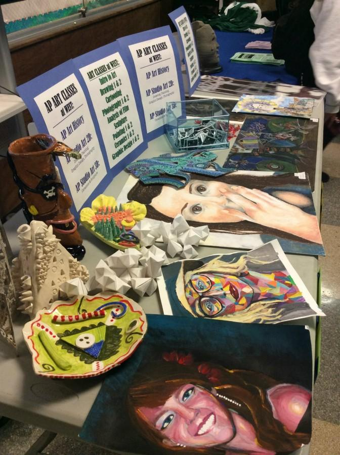 Students' artwork was displayed to show the different styles students can learn by taking art classes