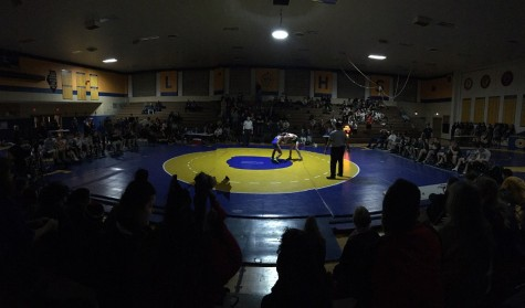 West Wrestlign faces off against Lions Township at conference.