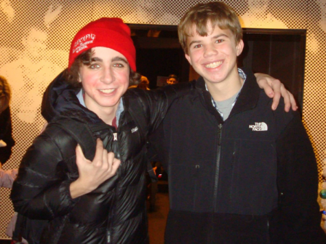 "Michael poses with his good friend Jackson after his performance as ""Hermey"" in the Broadway Playhouse production of Rudolph the Red Nosed Reindeer."
