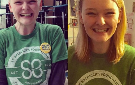 West alum, Lauren Crowe, before and after shaving her head for Saint Baldrick's.