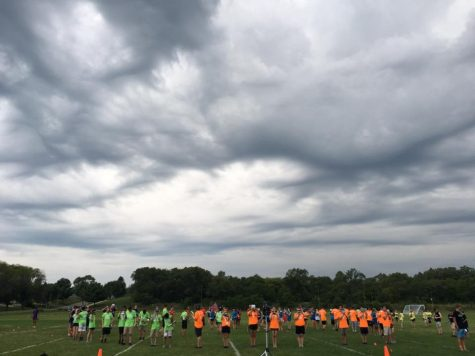 The Marching Band continue to practice even with the looming rainy weather ahead of them.