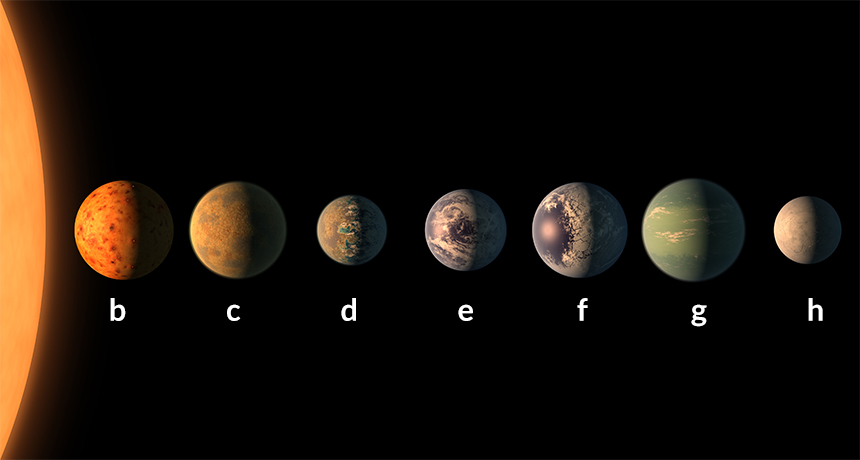 This is an artist's rendition of what the TRAPPIST-1 solar system might look like.  Each of the Earth-sized planets is labeled only by a letter.  Each planet size is an estimate.  Image courtesy of NASA.