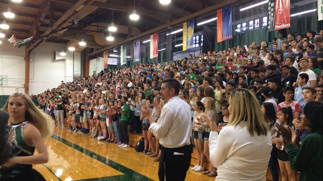 Freshmen get ready for the start of school at a pep rally