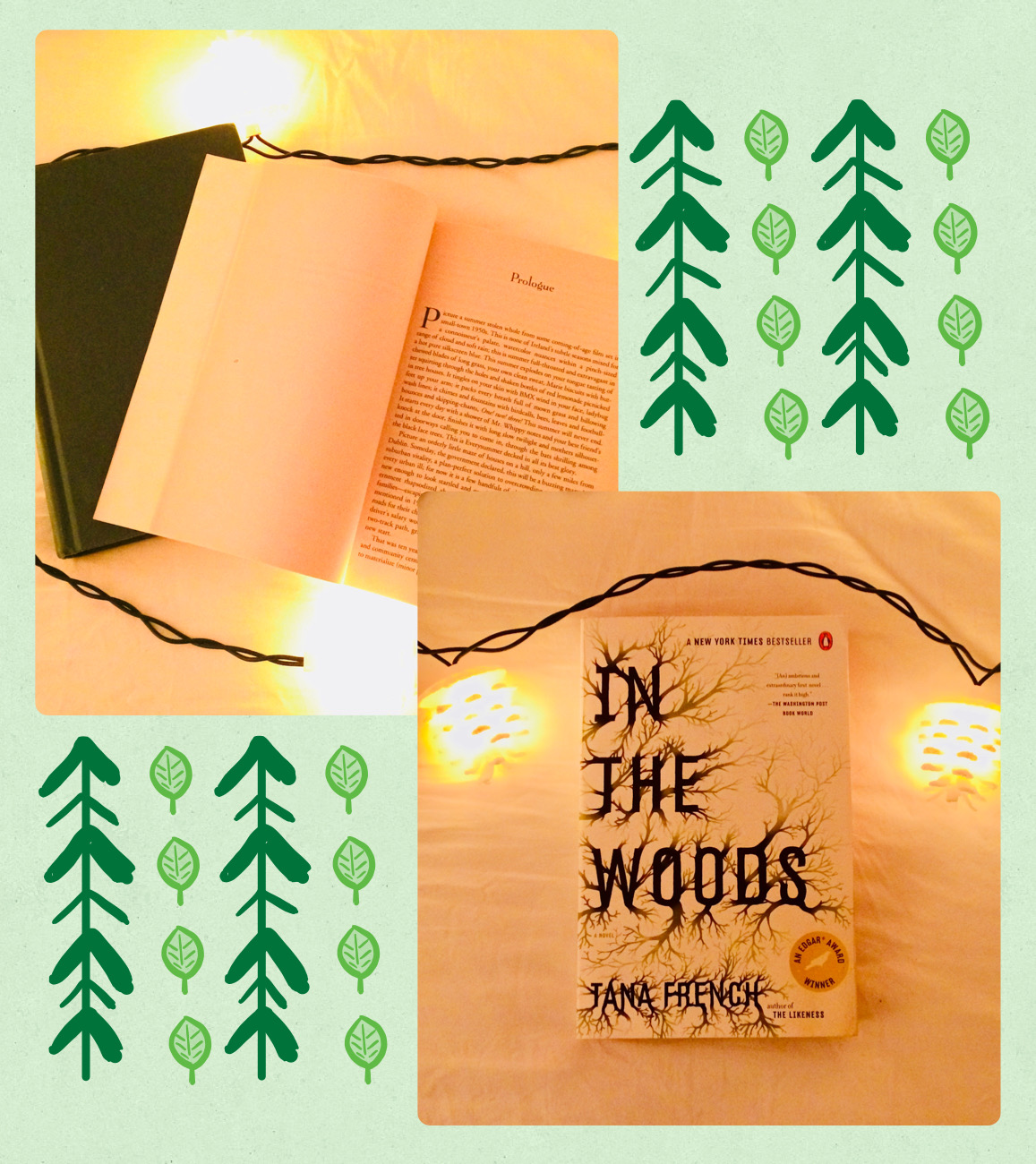 Pictured from left to right is the In the Woods prologue, which will immediately get you hooked to the novel, and the cover of the book, which is just as ominous as the content of its plot.