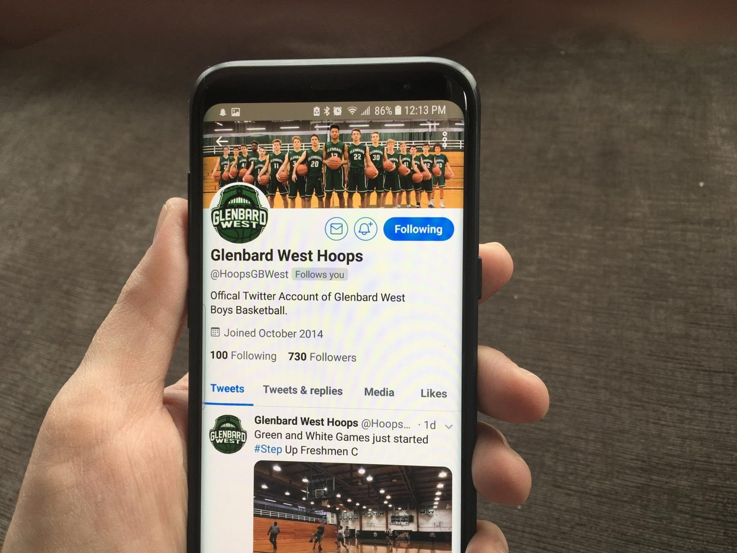 Boys basketball shares information on Twitter using the handle @HoopsGBWest.  The last couple posts have featured the Freshmen C team practicing and a retweeted article about varsity senior Evan Taylor committing to Southern Illinois University to play basketball.
