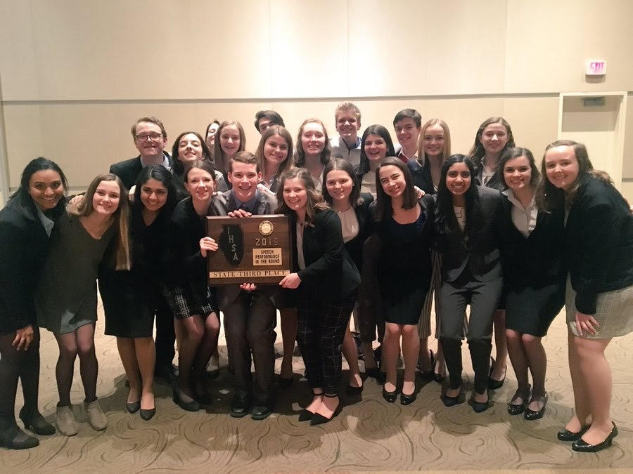 The Forensics Team after their State Meet, placing 3rd in Performance in the Round (PIR.)