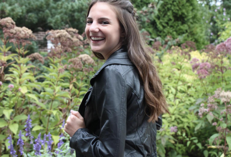 Ava Batz, black leather jacket; Collection B
