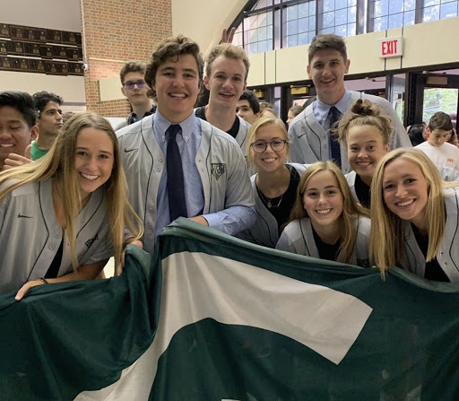 Super Fans (from left to right) Antoni Roman, Katie Langan, Kevin Tracey, Jack Rueth, Olivia Farley, Mia Navarro, Jack Lewandowski, Natalie Hermiller, and Maddie Wallace.