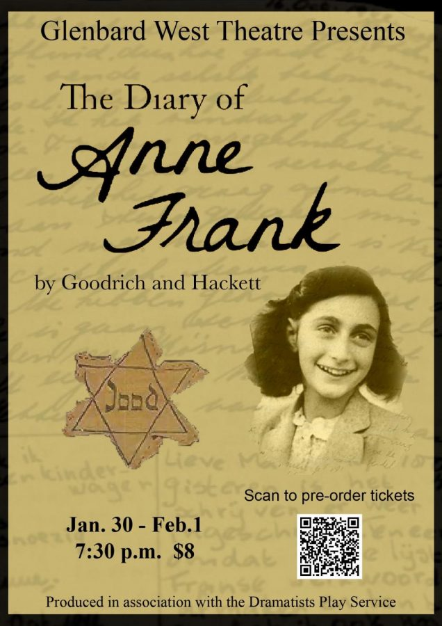 A+poster+created+by+the+student-ran+business+team+publicizing+the+upcoming+winter+play%2C+%22The+Diary+of+Anne+Frank%22.